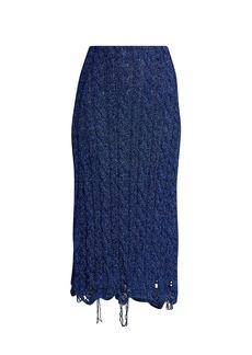 Balenciaga Destroyed Knit Midi Skirt