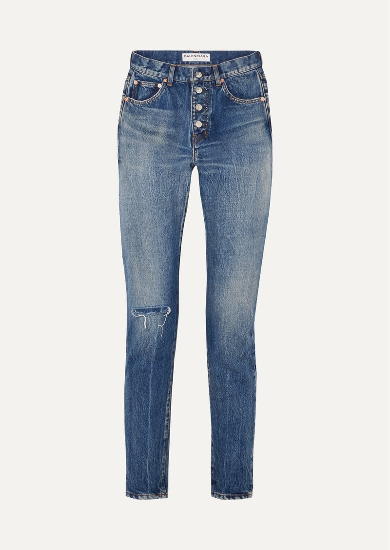 Balenciaga Distressed Mid-rise Straight-leg Jeans