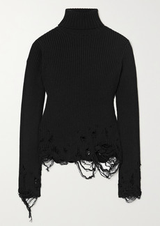 Balenciaga Distressed Ribbed Wool Turtleneck Sweater