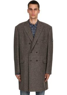 Balenciaga Double Breasted Wool Check Coat