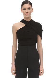 Balenciaga Draped Stretch Jersey One Shoulder Top