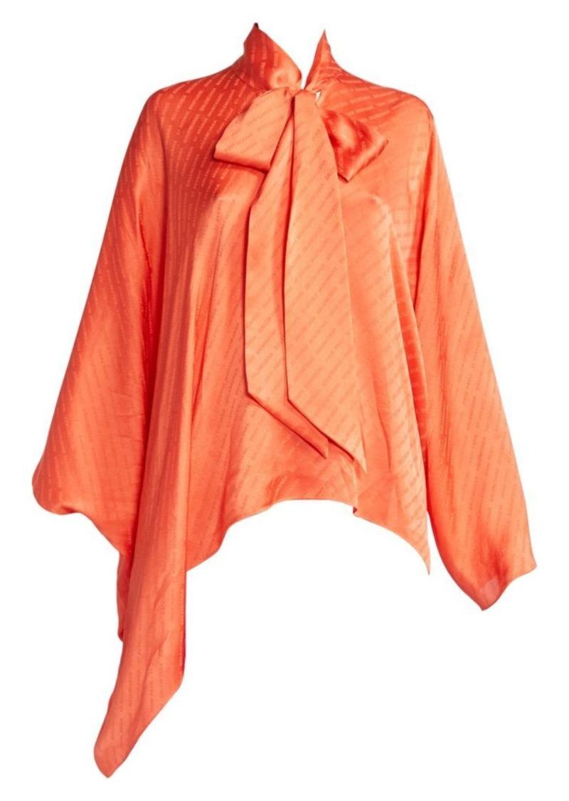Balenciaga Draped Vareuse Logo Tieneck Blouse