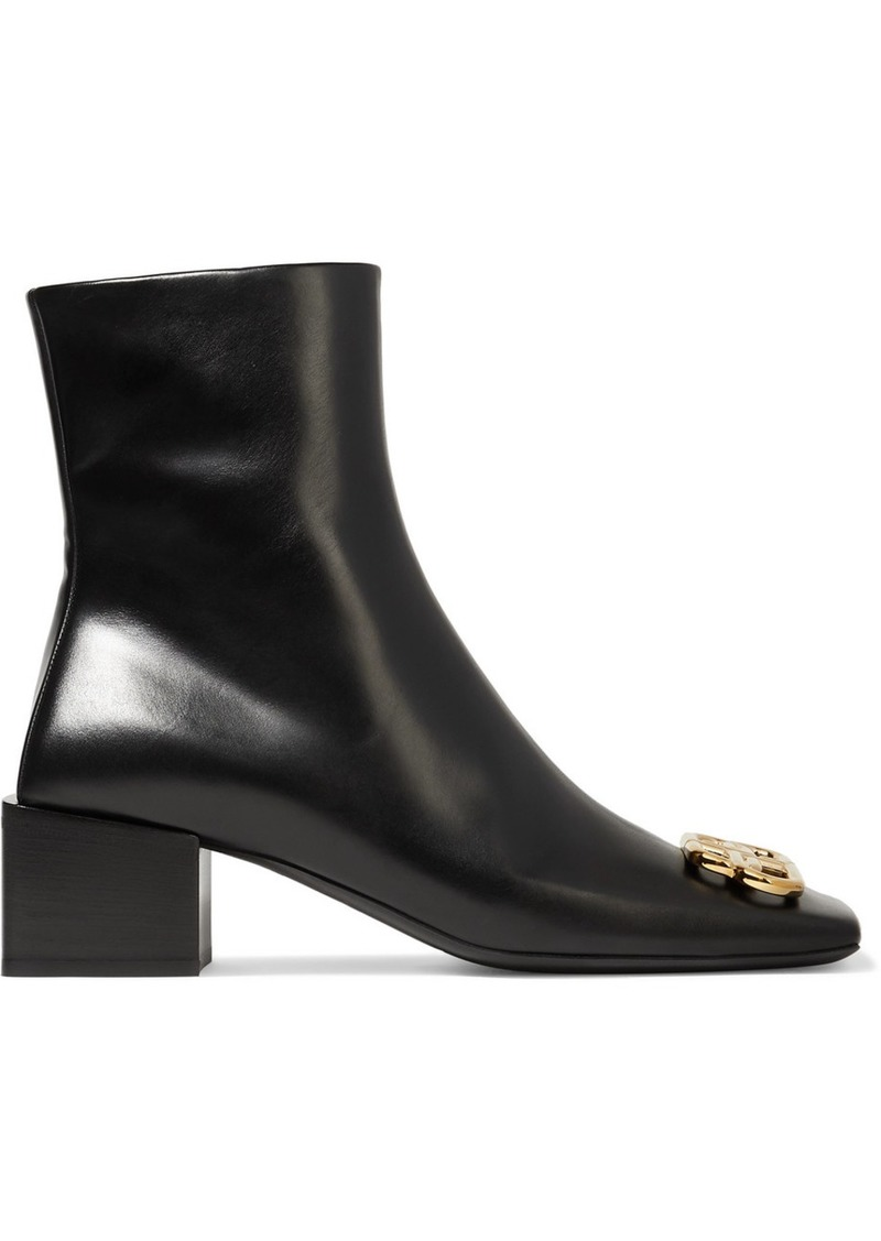 Balenciaga Embellished Leather Ankle Boots
