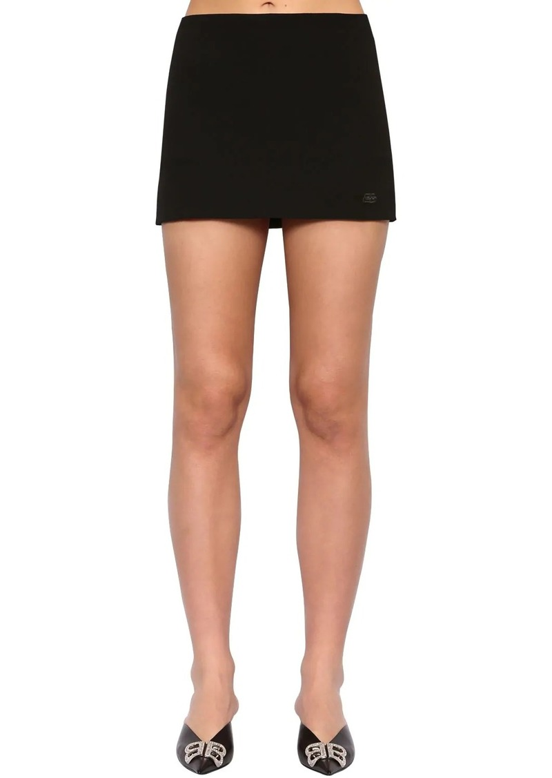 Balenciaga Embroidered Logo Gabardine Skirt