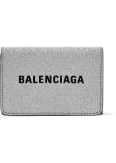 Balenciaga Everyday Printed Glittered Leather Wallet