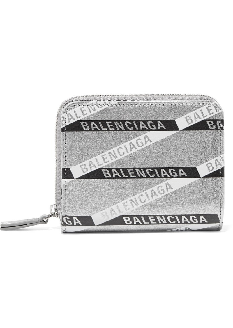 Balenciaga Everyday Printed Metallic Textured-leather Wallet