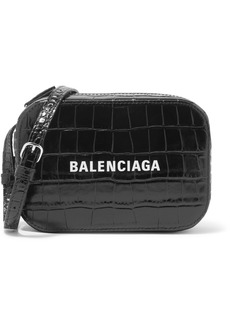 Balenciaga Everyday Xs Aj Printed Croc-effect Leather Camera Bag