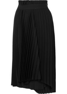 Balenciaga Fancy Intarsia Pleated Crepe Midi Skirt