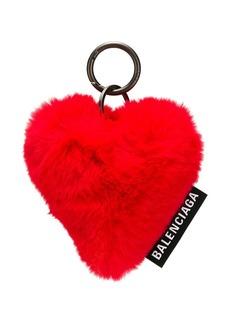 Balenciaga faux fur heart key ring