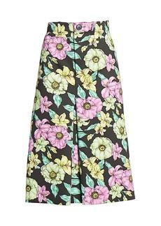 Balenciaga Floral Pleated A-Line Skirt