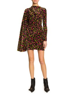 Balenciaga Floral Print Draped Side Velvet Dress