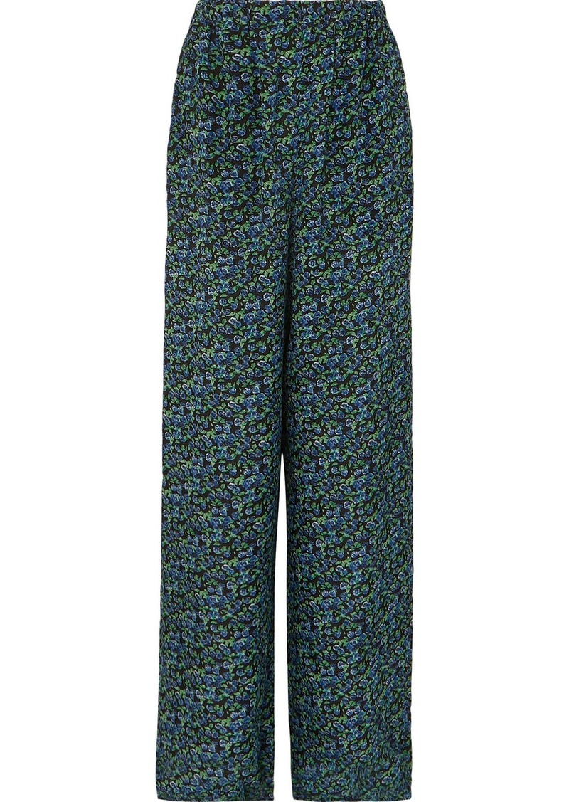 Balenciaga Floral-print Silk-crepe Wide-leg Pants