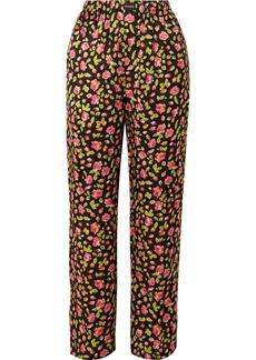 Balenciaga Floral-print Silk Satin-jacquard Wide-leg Pants