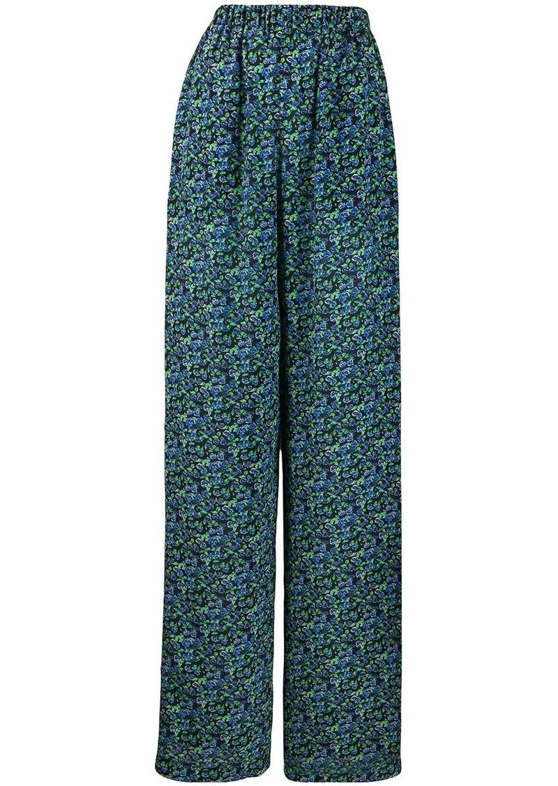 Balenciaga floral print wide-leg trousers