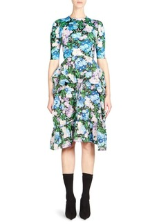 Balenciaga Floral Ruffle Dress