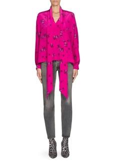Balenciaga Floral Silk Tie-Neck Blouse