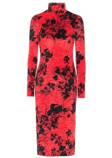 Balenciaga Floral stretch-velvet midi dress