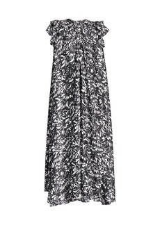 Balenciaga Flou Printed Silk Midii Dress