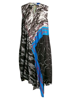 Balenciaga Foulard Asymmetric Pleated Shift Dress