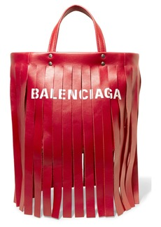 Balenciaga Fringed printed leather tote