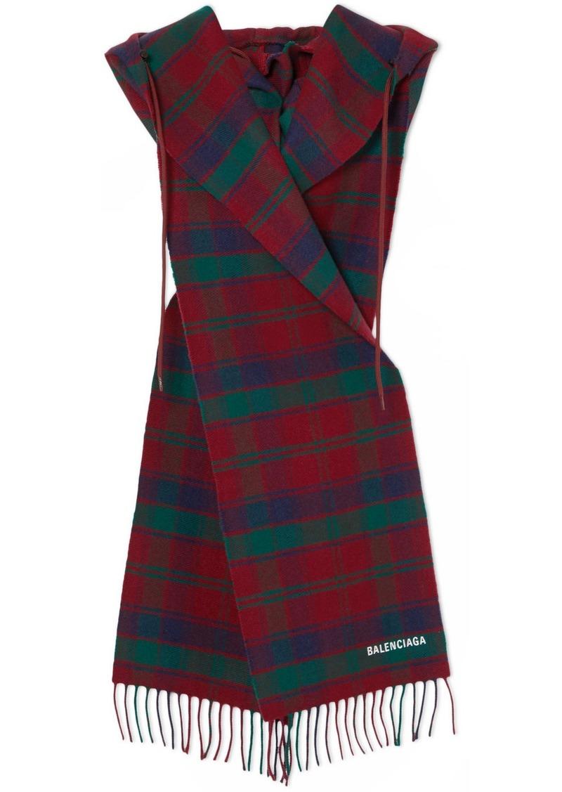 Balenciaga Fringed Tartan Wool Hooded Scarf