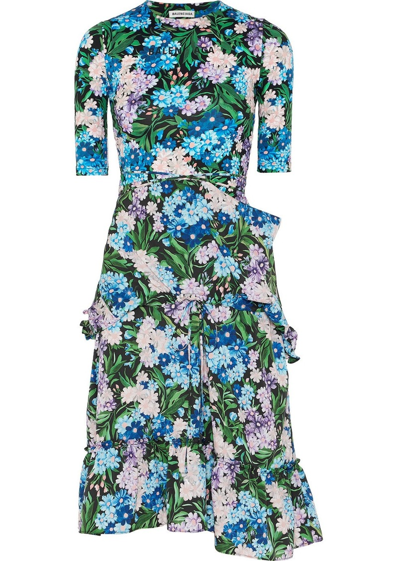 Balenciaga Gathered Floral-print Jersey And Crepe Dress