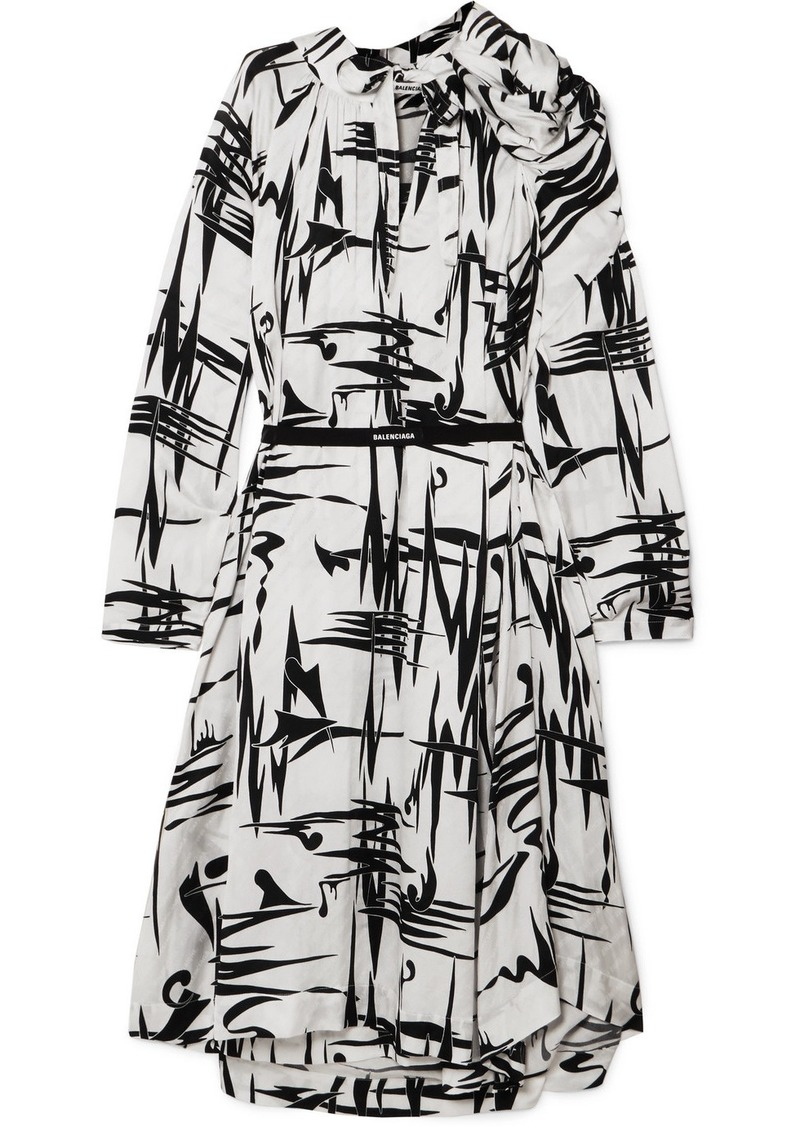 Balenciaga Gathered Printed Silk-jacquard Midi Dress