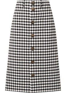 Balenciaga Gingham Woven Midi Skirt