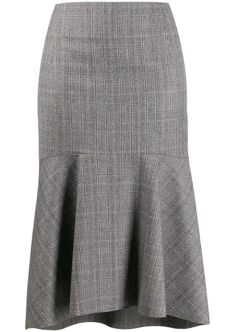 Balenciaga godet checked skirt