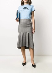 Balenciaga godet checked skirt