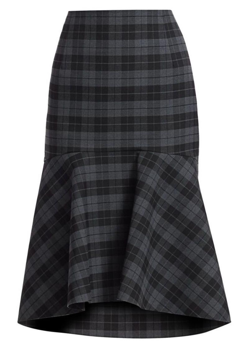 Balenciaga Godet Stretch-Wool Plaid Peplum Skirt