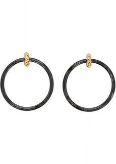Balenciaga Gold & Black Large Hoop Earrings
