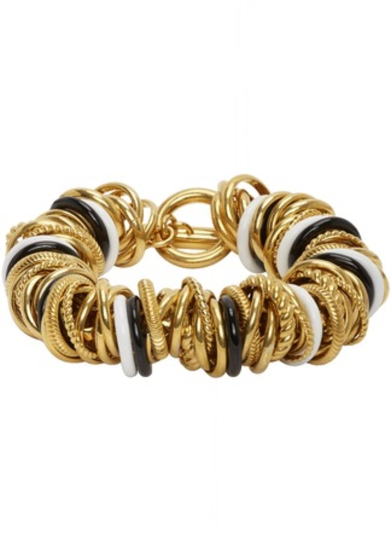 Balenciaga Gold & Black Multirings Bracelet