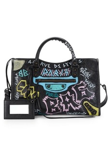 Balenciaga Medium City Graffiti Leather Satchel
