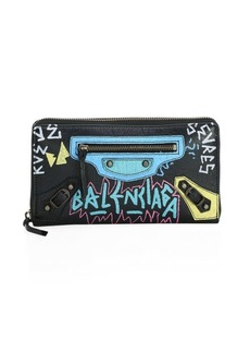 Balenciaga Graffiti Leather Zip-Around Wallet