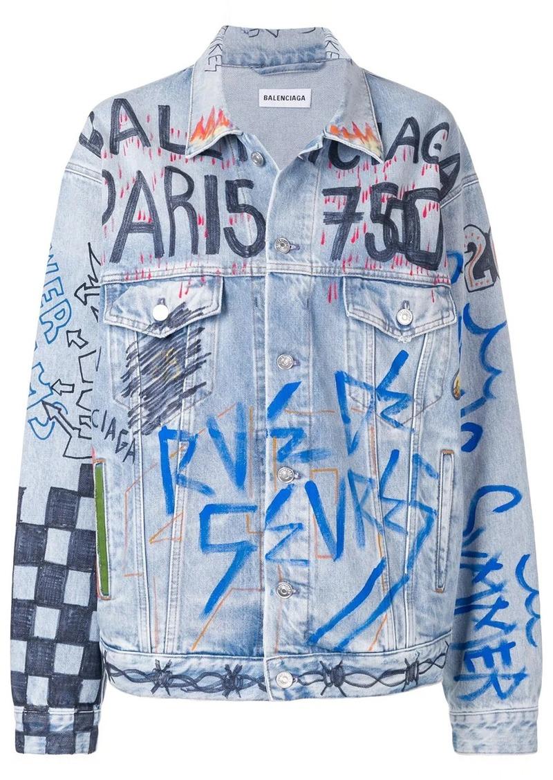 Balenciaga graffiti oversized denim jacket