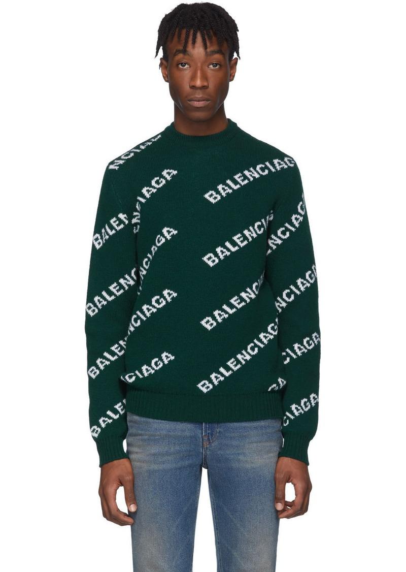 Balenciaga Green Wool Jacquard Logo Crewneck Sweater