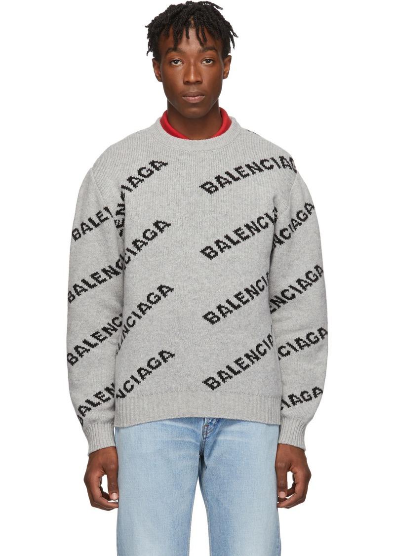 Balenciaga Grey & Black All Over Logo Sweater