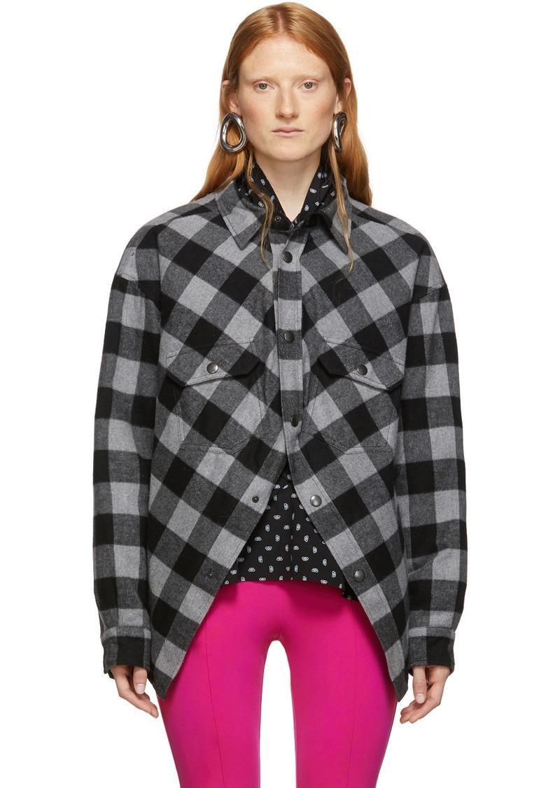 Balenciaga Grey & Black Check Flannel Swing Canadian Jacket