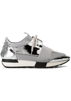 Balenciaga Grey and Silver Race Runner Leather Sneakers