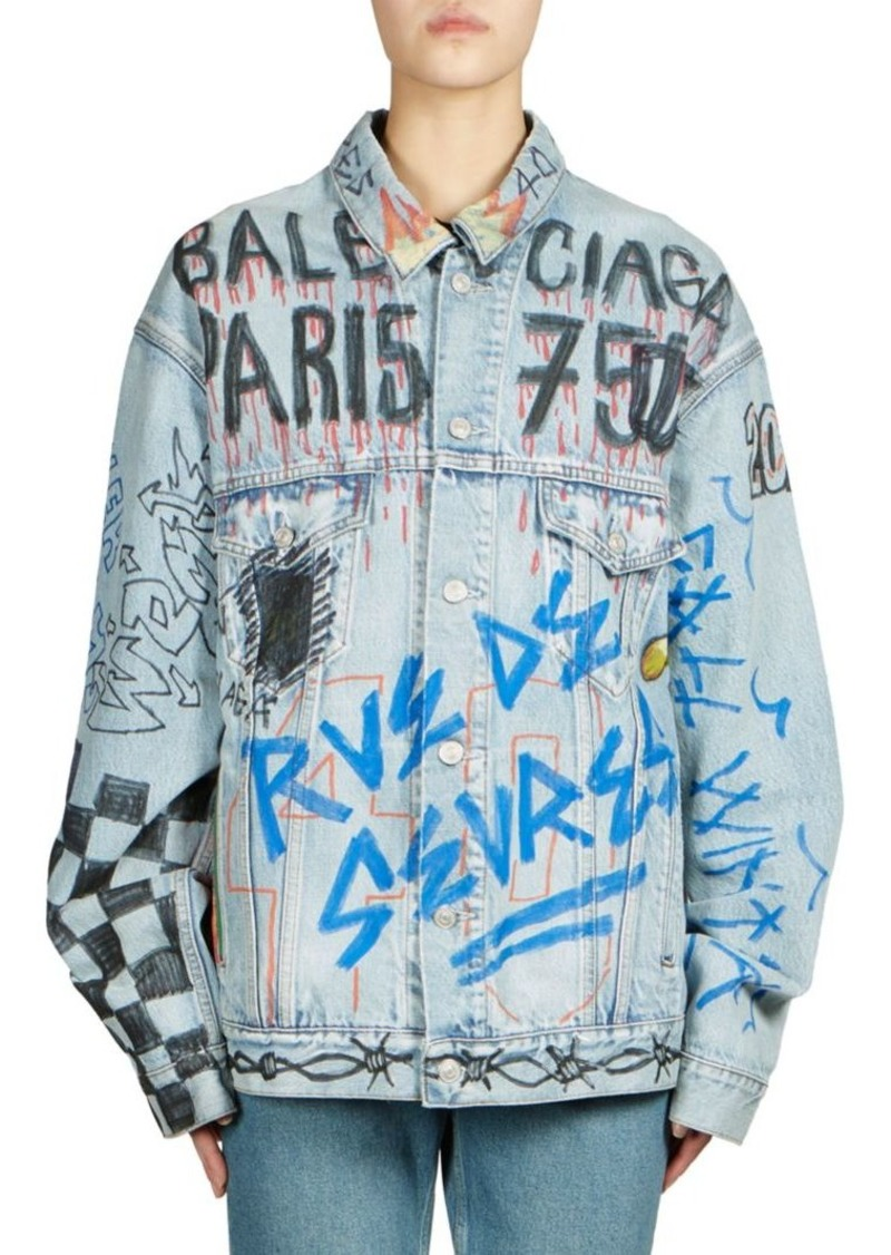 Balenciaga Handwritten Oversized Graffiti Denim Jacket
