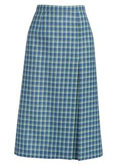 Balenciaga High Slit Plaid Pencil Skirt
