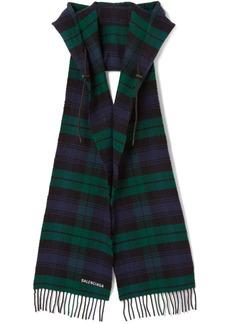 Balenciaga Hooded Fringed Tartan Wool Scarf