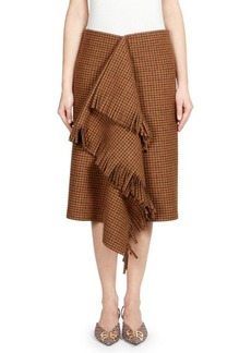 Balenciaga Houndstooth Plaid Fringe Skirt