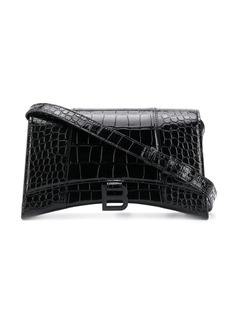 Balenciaga Hourglass crocodile-effect sling shoulder bag