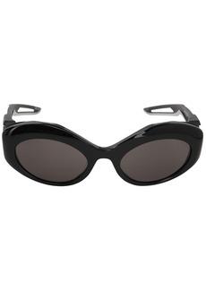 Balenciaga Hybrid Oval Shiny Sunglasses