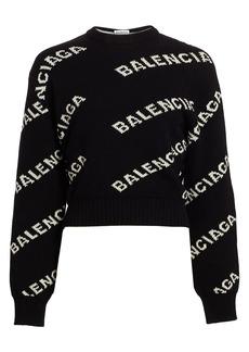 Balenciaga Intarsia Logo Cropped Crewneck Sweater