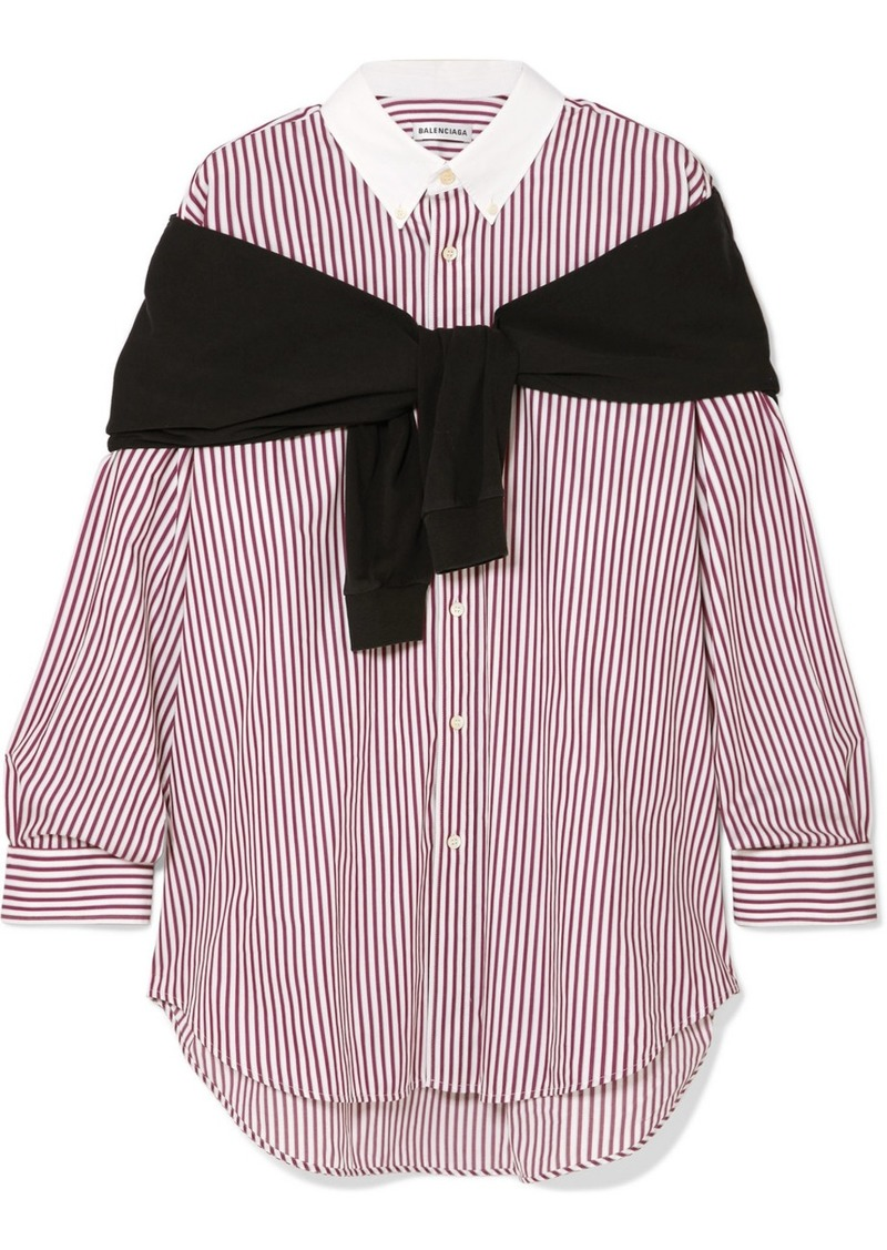 Balenciaga Jersey And Striped Cotton-poplin Shirt