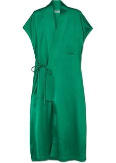 Balenciaga Judo Satin Midi Wrap Dress