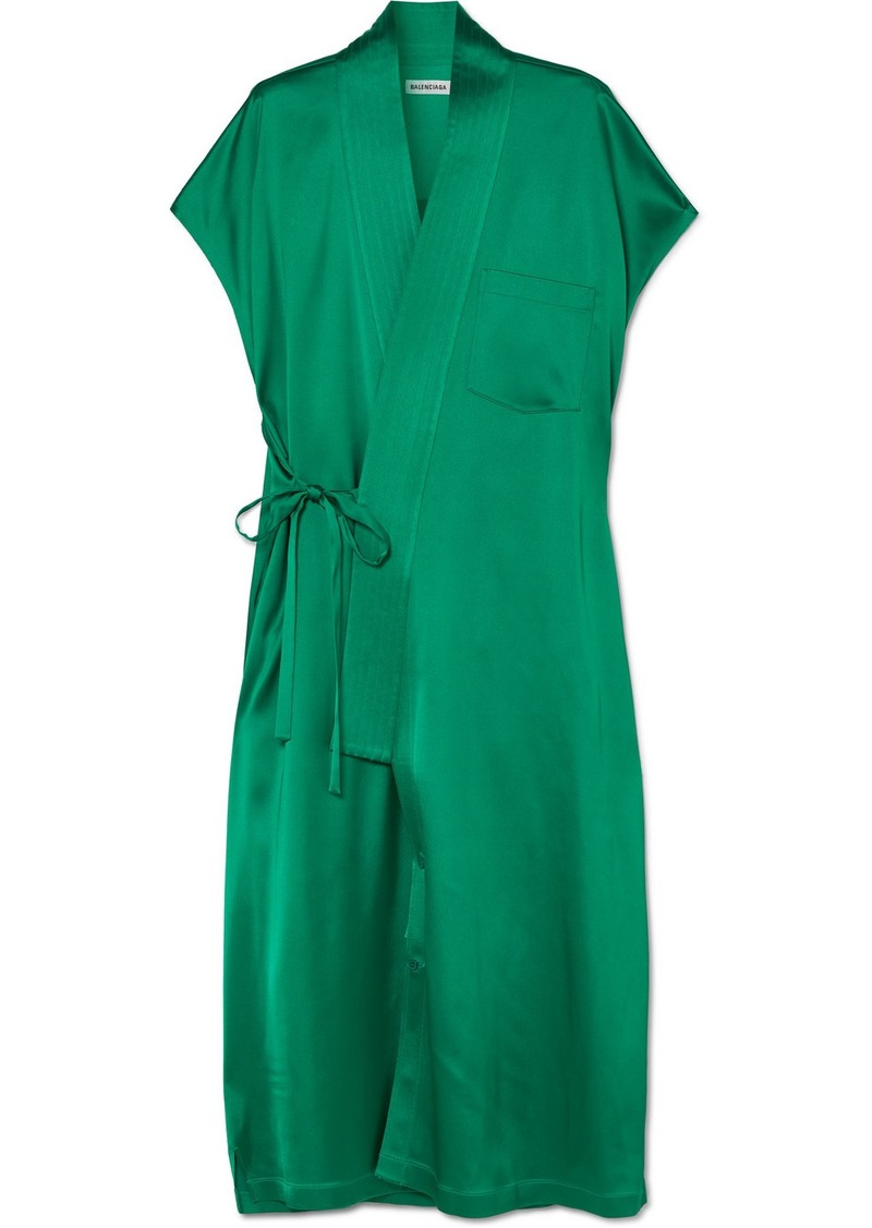 Balenciaga Judo Satin Midi Wrap Dress